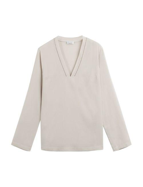 Brunello Cucinelli | Женское Mauve Embellished Silk Top Gr. S