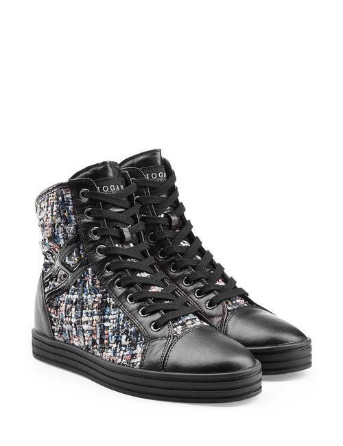Hogan Rebel | Женское Многоцветный Leather High-Top Sneakers With Tweed Gr. It