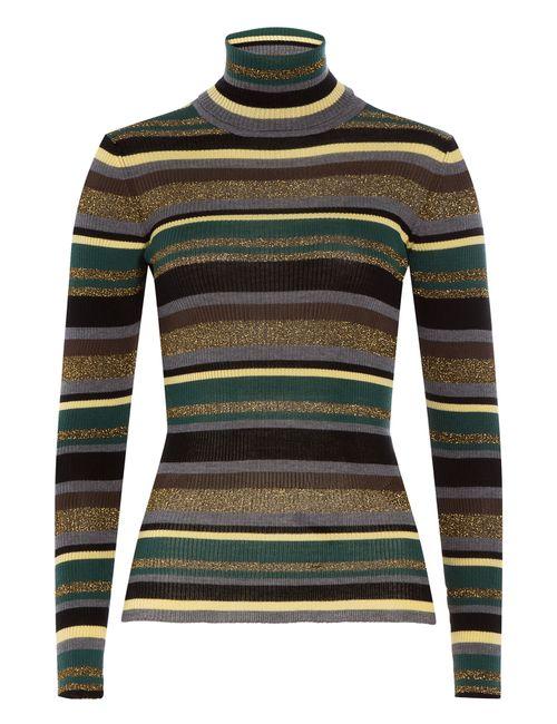 Emilio Pucci   Женское Многоцветный Striped Wool Turtleneck Pullover Gr. Xs