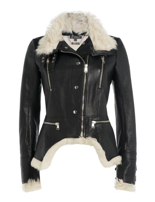 Alexander McQueen   Женское Чёрный Leather Biker Jacket With Shearling Gr. It