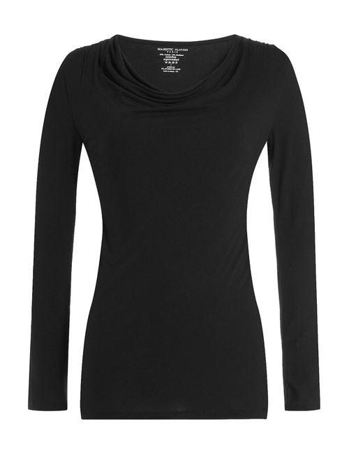 Majestic | Женское Чёрный Long Sleeved Draped Top Gr. S