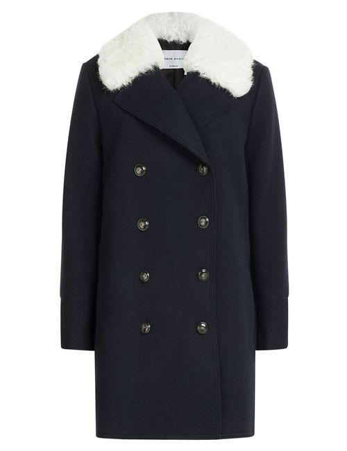 Sonia Rykiel | Женское Синий Wool Coat With Shearling Collar Gr. 36