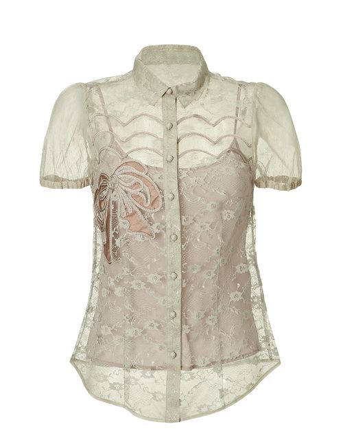 Red Valentino | Женское Бежевый Short Sleeve Sheer Lace Shirt With Bow