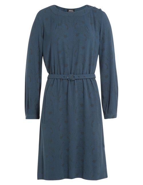 A.P.C.   Женское Синий Printed Dress Gr. Xs