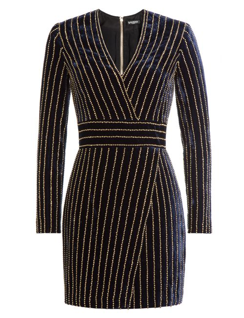 Balmain | Женское Синий Embellished Velvet Dress Gr. 36