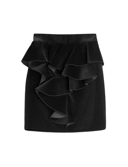 Balmain | Женское Чёрный Velvet Mini Skirt Gr. Fr 40
