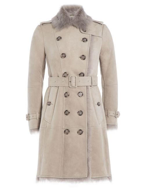 Burberry London | Серый Suede Trench Coat With Shearling Gr. 6