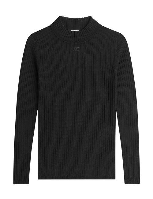 Courreges | Женское Чёрный Ribbed Wool Pullover Gr. 1