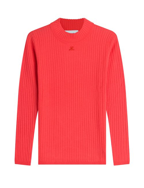 Courreges | Женское Красный Ribbed Wool Pullover Gr. 4