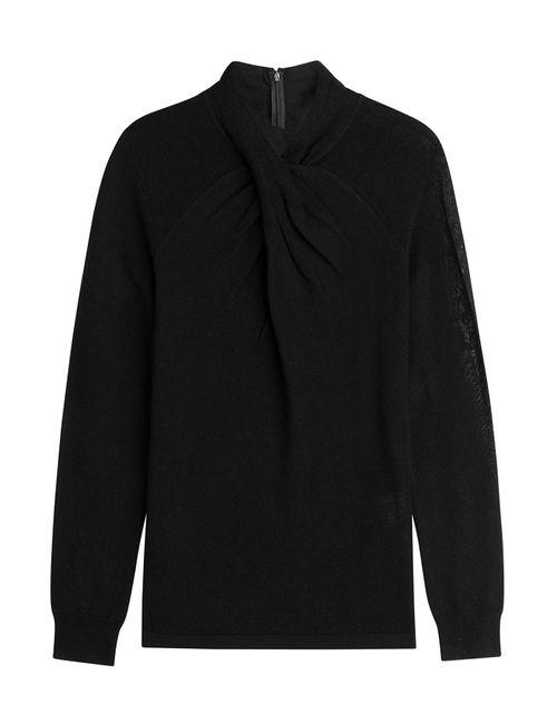 Steffen Schraut | Женское Чёрный Pleated Neck Merino Wool Pullover Gr. 32