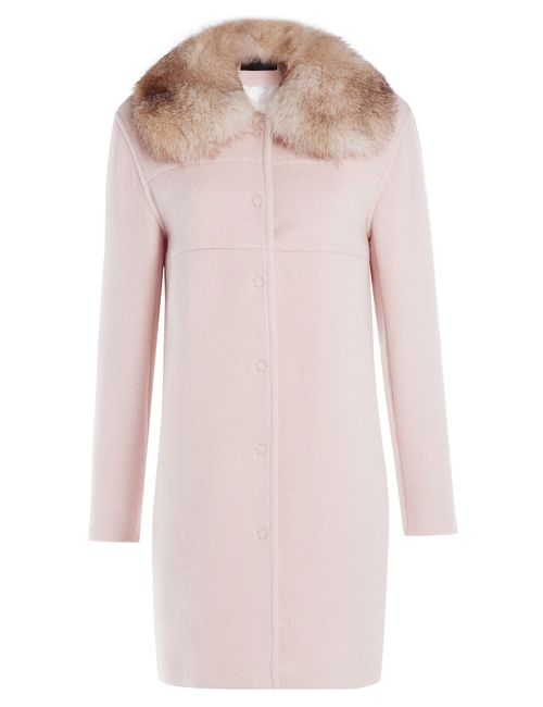 Tara Jarmon | Женское Rose Wool-Blend Coat With Fur Collar Gr. 36