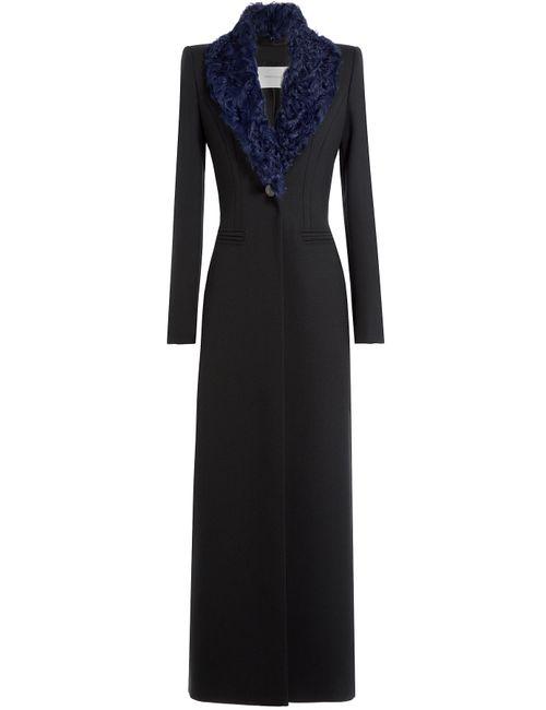 Pierre Balmain   Чёрный Long Coat With Shearling Collar Gr. 38
