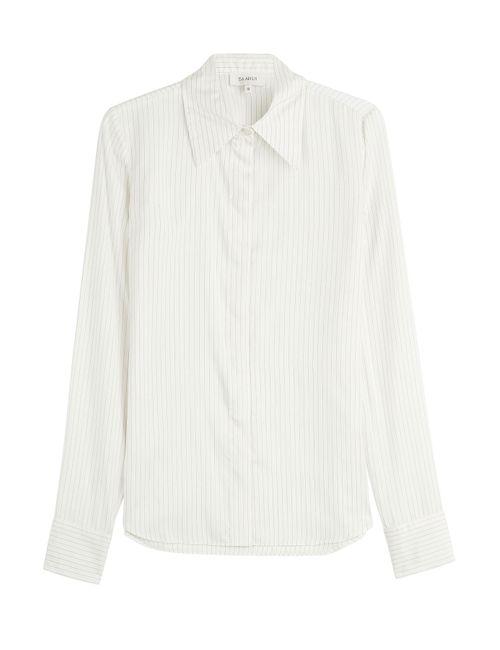 Isa Arfen | Женское Белый Pinstriped Silk Shirt Gr. Uk 8