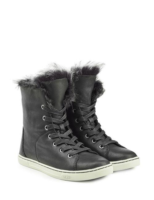 UGG Australia | Женское Чёрный Craft Leather Sneakers With Sheepskin Gr. 5