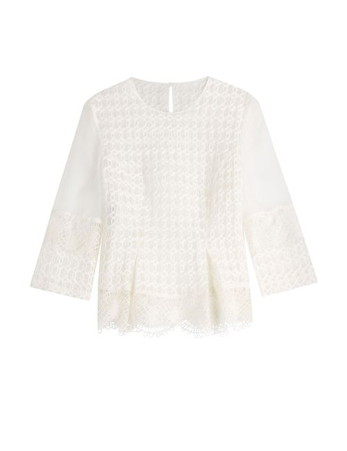 Alberta Ferretti | Женское Белый Embroidered Silk Blouse Gr. It 40