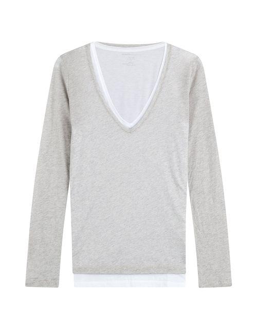 Majestic   Женское Серый Layered Cotton Top Gr. 1