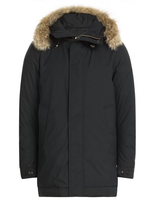 Woolrich | Мужское Синий Down Parka With Fur-Trimmed Hood Gr. L