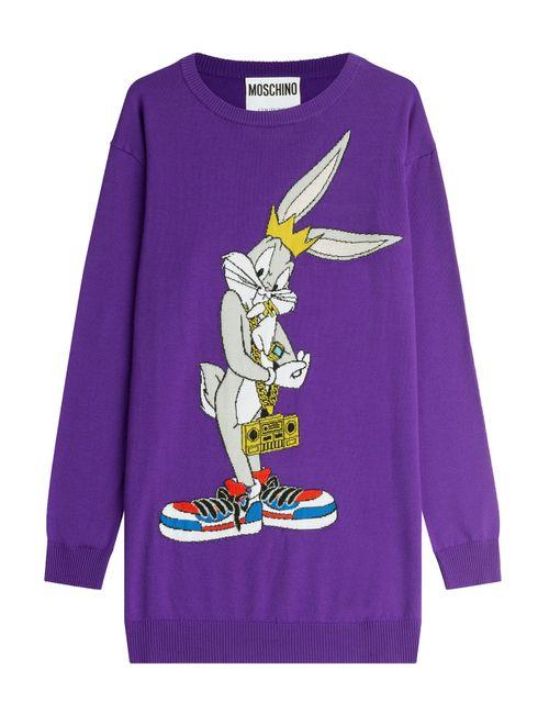 Moschino | Женское Фиолетовый Printed Wool Sweater Dress Gr. L