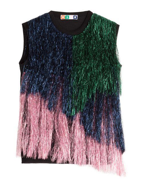 MSGM | Женское Многоцветный Fringed Wool Top Gr. Xs