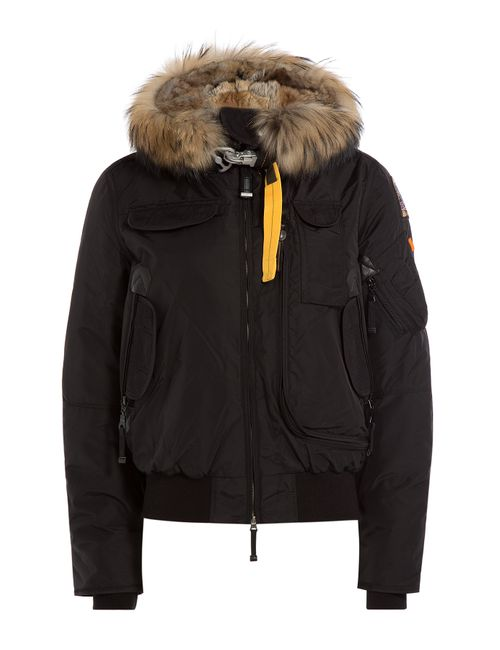 Parajumpers | Женское Чёрный Down Bomber Jacket With Fur-Trimmed Hood Gr.