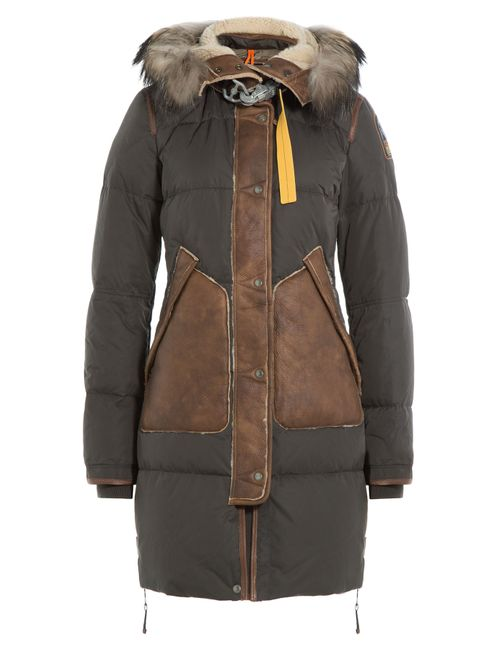 Parajumpers | Женское Зелёный Down Parka With Fur-Trimmed Hood And Leather