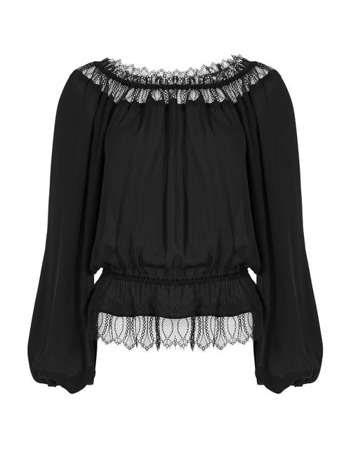 TAMARA MELLON | Женское Черный Silk Georgette Blouse With Lace Gr. 0