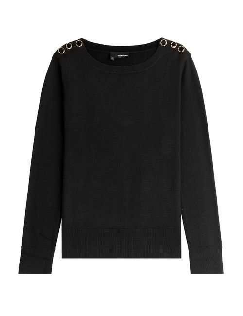 The Kooples | Женское Чёрный Merino Wool Pullover With Button Shoulders Gr.