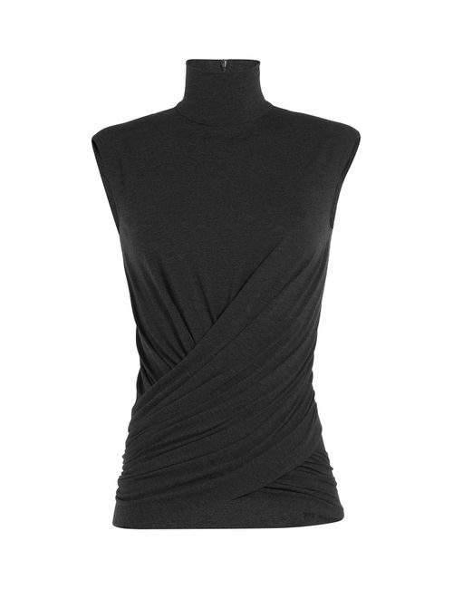 Donna Karan New York | Женское Серый Draped Turtleneck Top Gr. Xs