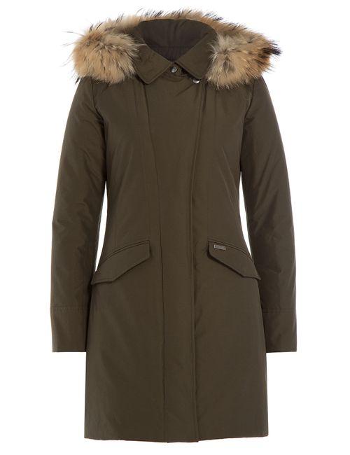 Woolrich | Женское Зелёный Down Parka With Fur-Trimmed Hood Gr. S