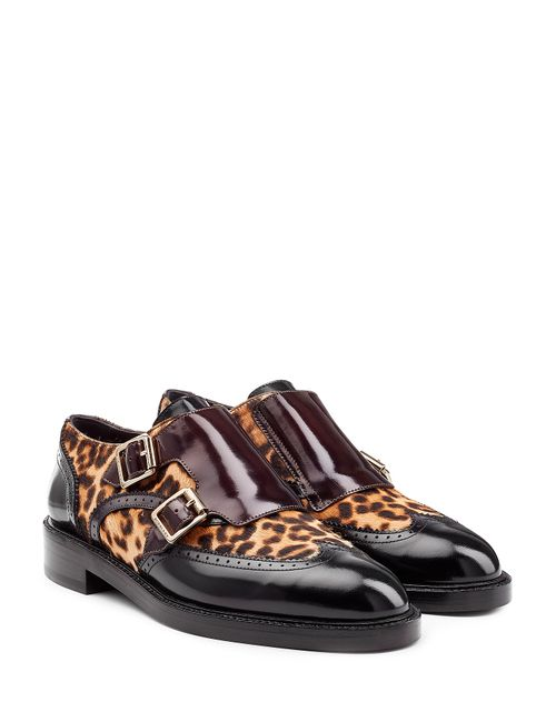 Burberry | Animal Prints Leather Loafers With Leopard Printed Calf Hair