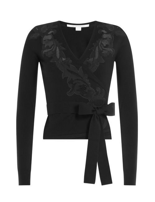 Diane Von Furstenberg | Женское Чёрный Merino Wool Wrap Around Cardigan With Embroidery