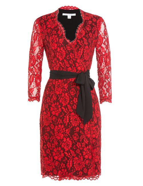 Diane Von Furstenberg | Женское Красный Wrap Dress With Lace Gr. 0