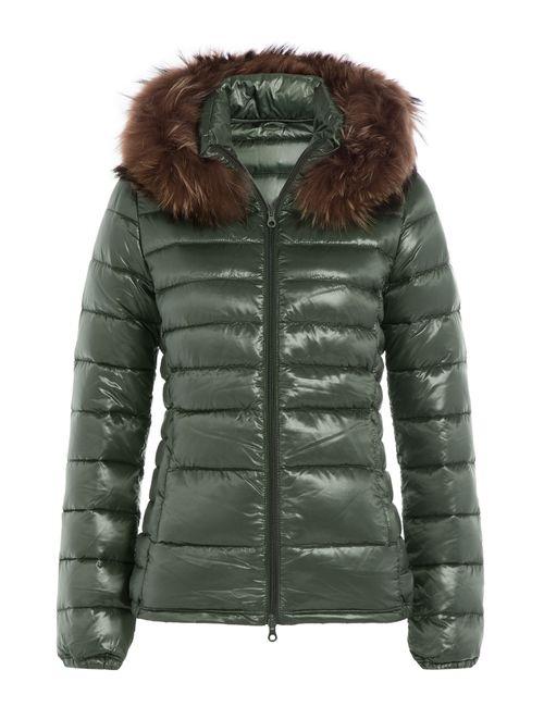 Duvetica | Женское Зелёный Down Jacket With Fur-Trimmed Hood Gr. It