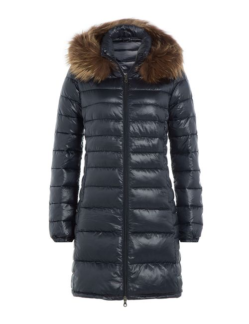 Duvetica | Женское Синий Down Jacket With Fur-Trimmed Hood Gr. 38