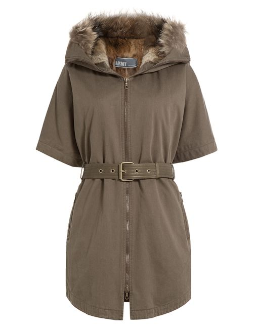 Yves Salomon | Женское Зелёный Cotton Parka With Fur Trim Gr. 36