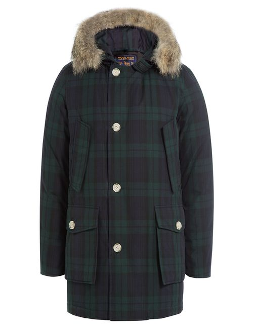 Woolrich | Мужское Зелёный Printed Down Parka With Fur Trimmed Hood