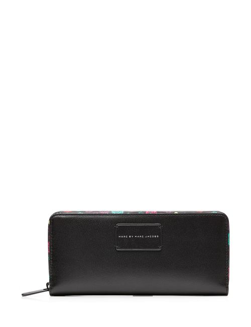 Marc by Marc Jacobs x Disney | Женское Schwarz Ditsy Flower Zip Around Leather Wallet Gr.