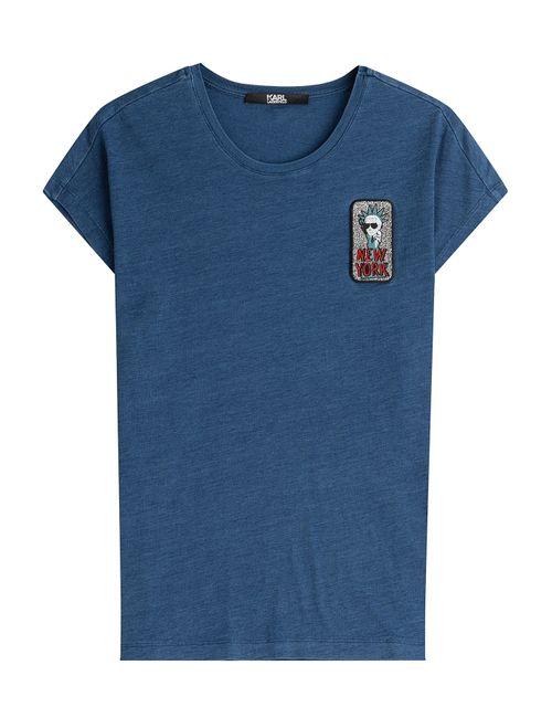 Karl Lagerfeld | Женское Blau Karl In Nyc Printed Cotton T-Shirt Gr.