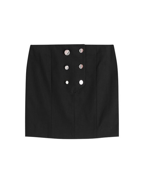 Anthony Vaccarello | Женское Schwarz Button Front Cotton Mini Skirt Gr. 34