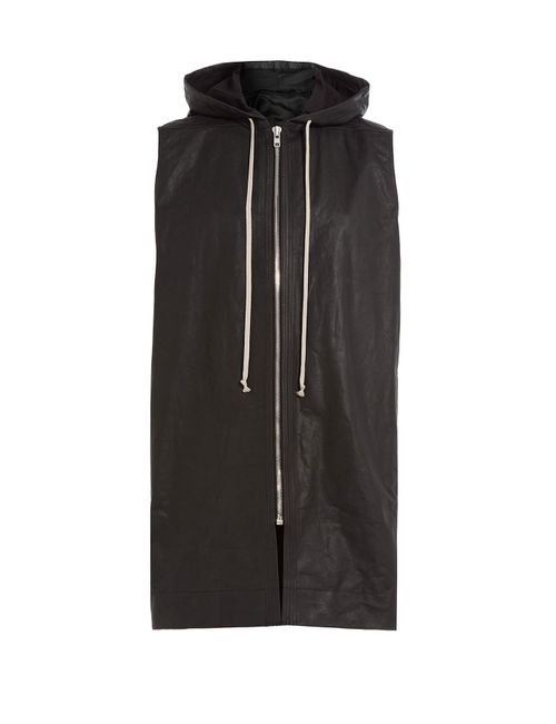Rick Owens | Schwarz Leather Drawstring Hooded Vest Gr. 48