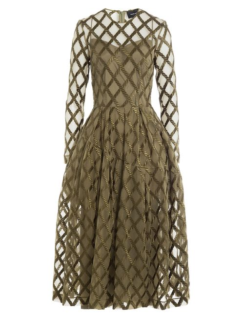 Simone Rocha | Женское Зелёный Embroidered Tulle Midi Dress Gr. Uk 8