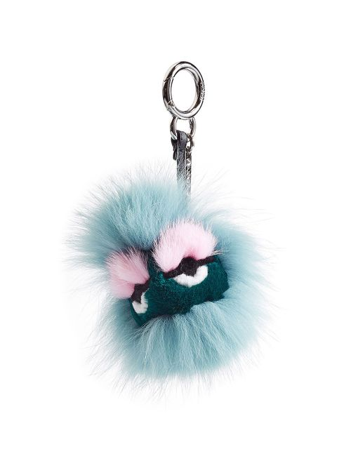 Fendi | Синий Bag-Bug Eyelash Key Chain With Fox Fur