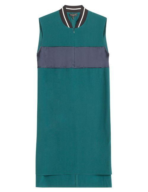 Rag & Bone | Женское Зелёный Colorblock Shift Dress With Contrast Collar Gr.