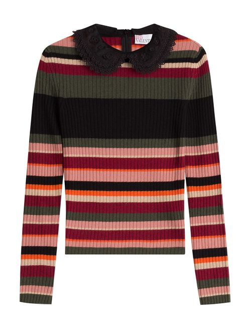 Red Valentino | Женское Многоцветный Striped Knit Top With Round Collar Gr.