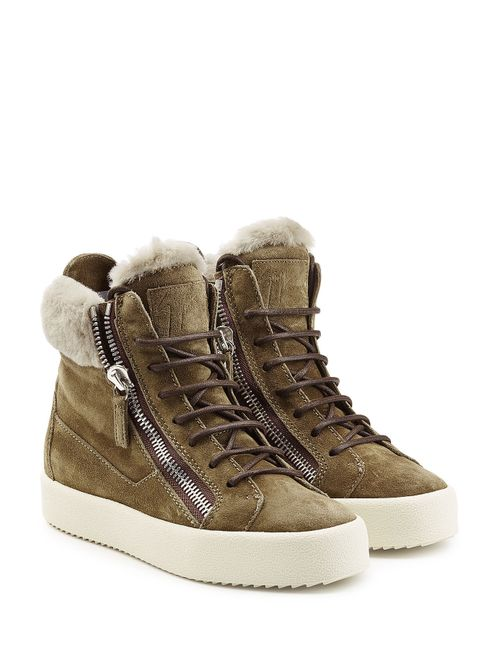 Giuseppe Zanotti Design | Женское Зелёный Suede/Shearling High-Top Sneakers Gr. It 38