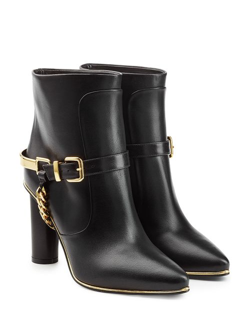 Balmain | Женское Чёрный Leather Ankle Boots With Chain Embellishment Gr.