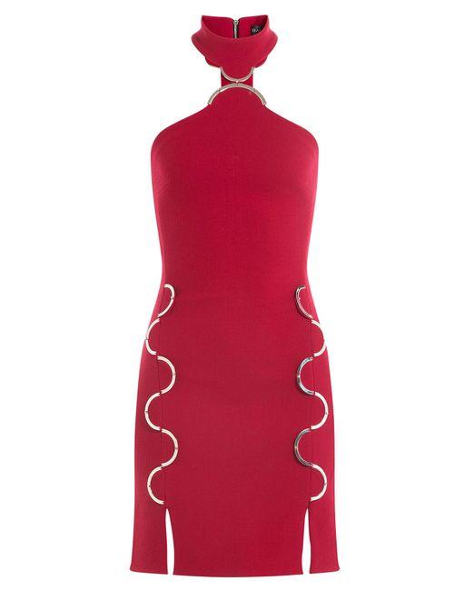 David Koma | Женское Красный Wool Dress With Cut-Out Detail Gr. Uk