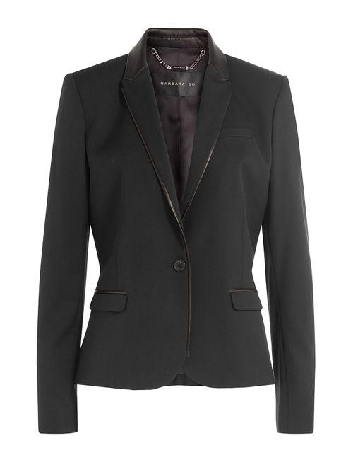 Barbara Bui | Женское Чёрный Wool Blazer With Leather Gr. Fr 36