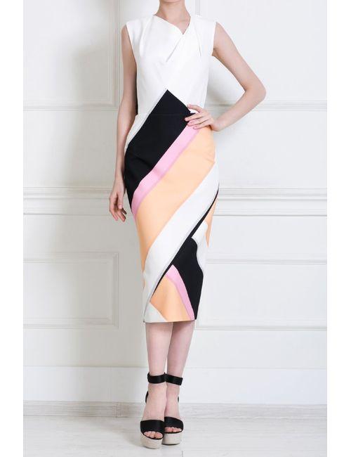 Roland Mouret   Женское Многоцветное Шелковое Платье