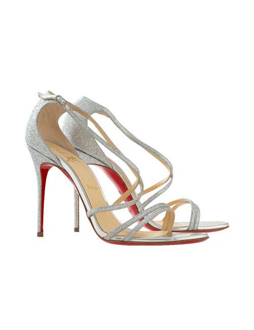 Christian Louboutin | Женские Серебряные Кожаные Босоножки Gwynitta 100 Glitter Mini/Specchio